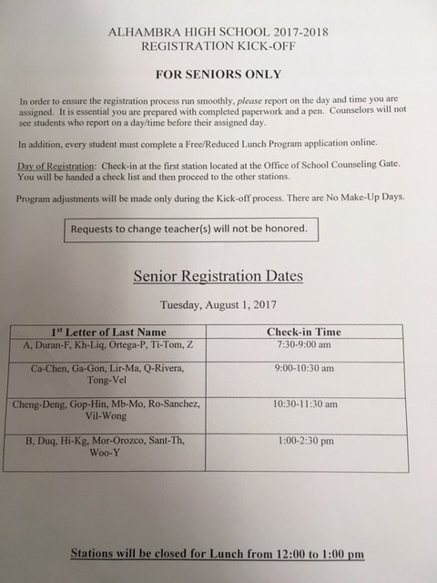 Senior Registration Kick - Off Tuesday, August 1, 2017 Thumbnail Image