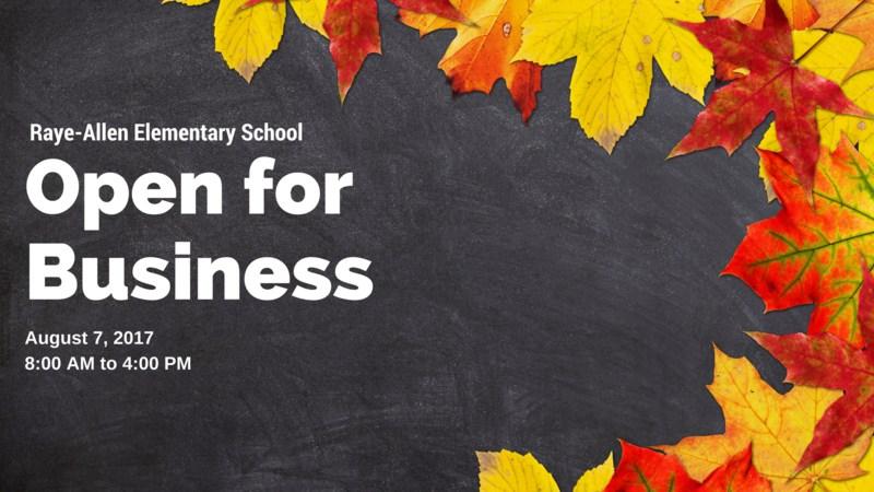 Raye-Allen Elementary Open for business