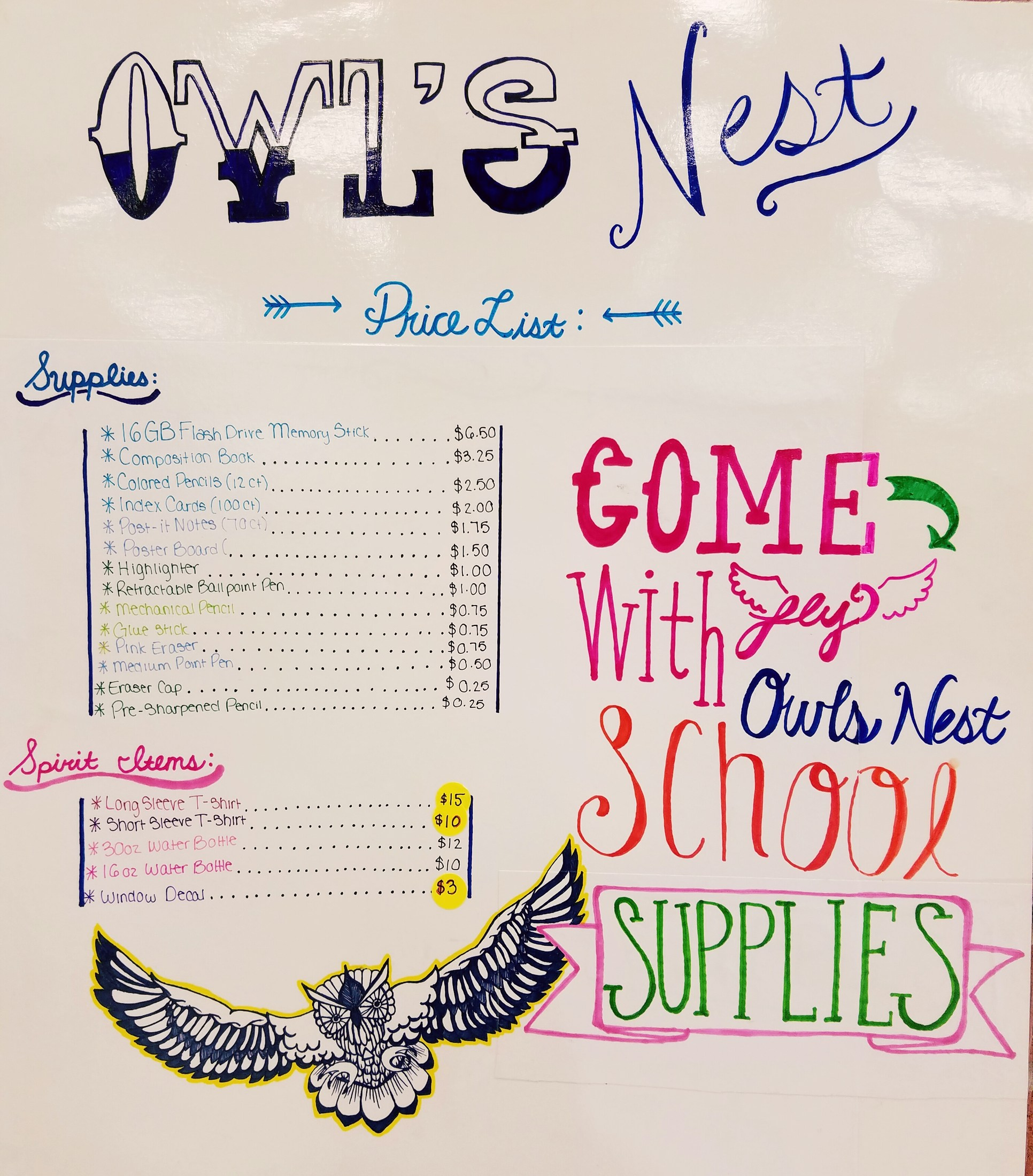 Owls' Nest Price List