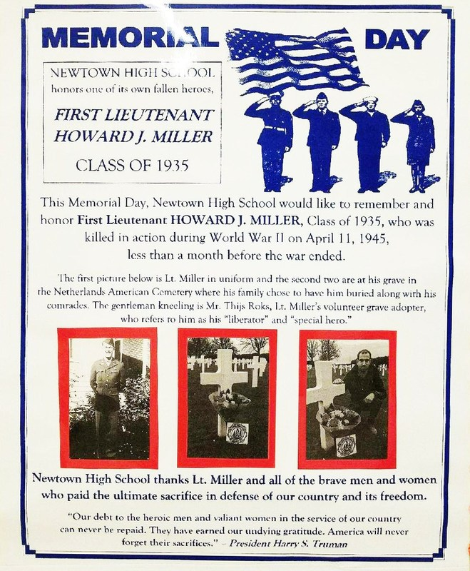 Newtown High School news article highlighting First Lieutenant Howard J. Miller, class of 1935. K.I.A. in WWII on April 11, 1945.