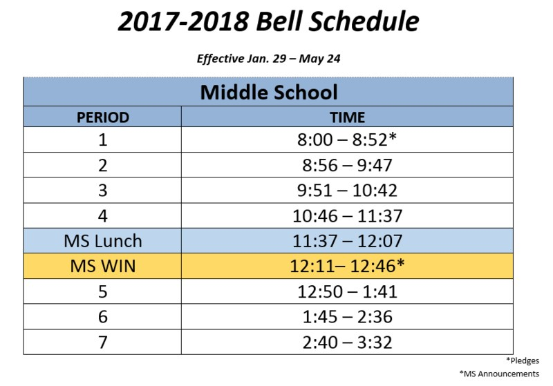 revised RMS bell schedule