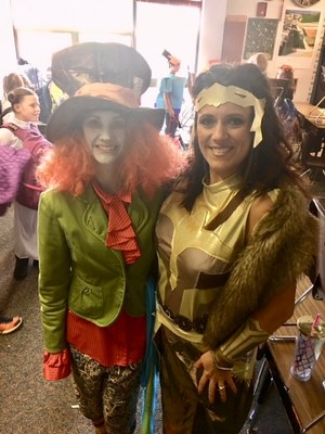 The Mad Hatter and Queen Hippolyta (Who?! Wonder Woman's mom!)