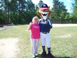 Tom Cat and Mrs. Hedrick on Field Day.