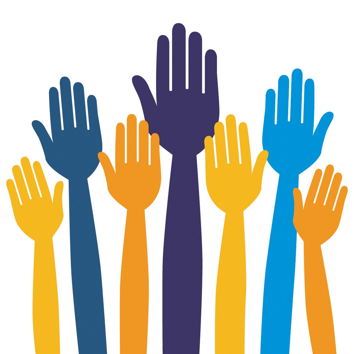 Vector graphic of raised hands.