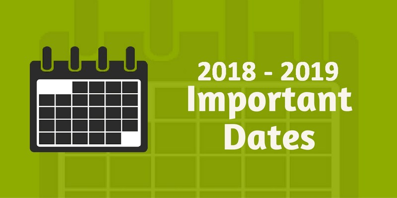 Important Dates for the 18-19 School Year Featured Photo