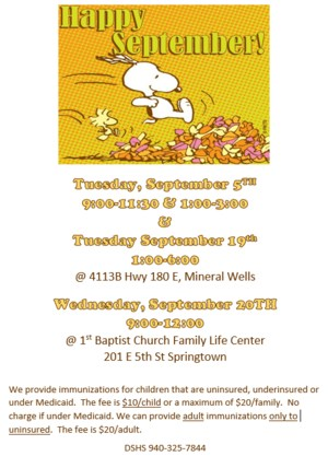A flyer with dates and locations for immunization clinics. It contain an image of snoopy and woodstock jumping into a pile of leaves, that says Happy September.