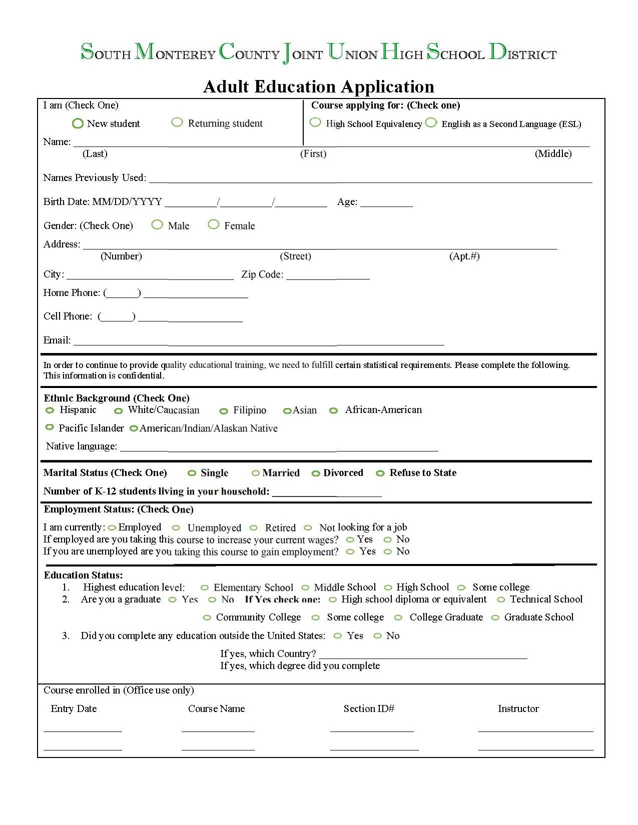 Adult Ed Application