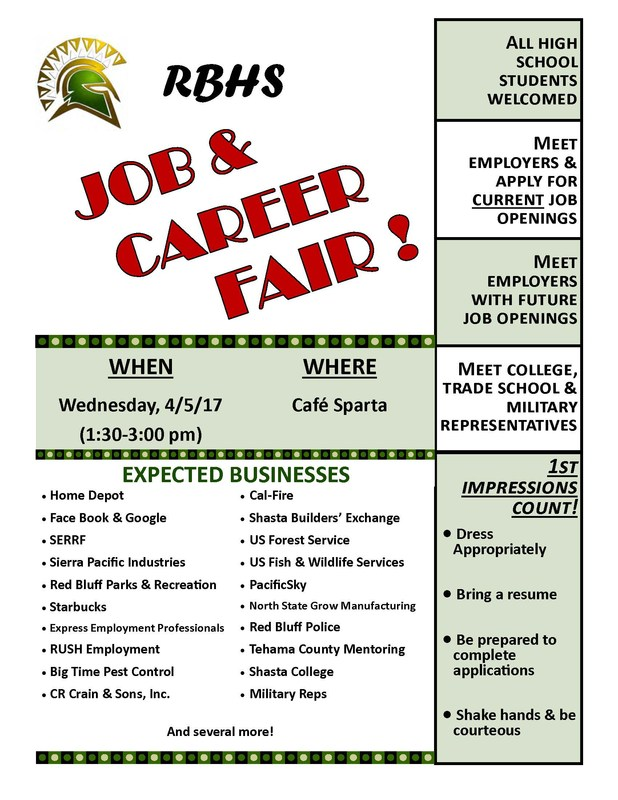 Job and Career Fair April 5 1:30 to 3:00 PM in Cafe Sparta