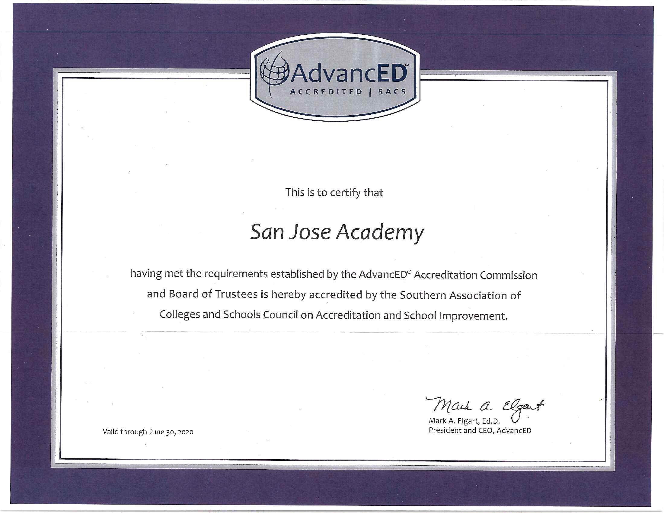 Accreditation About Us San Jose Academy Preparatory High School