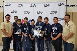 "CyberCavs TESLA team members are: Manuel Salinas (8th), Pedro Rojas (8th), Salim Guizar-Servin (8th), Jorge Villasana (8th), Joel Quijada (8th), Kendrick Torres (8th), Gael Garcia (8th) along with their coaches Daniel ""Danny"" Reyna and Manuel ""Marc"" Villarreal."