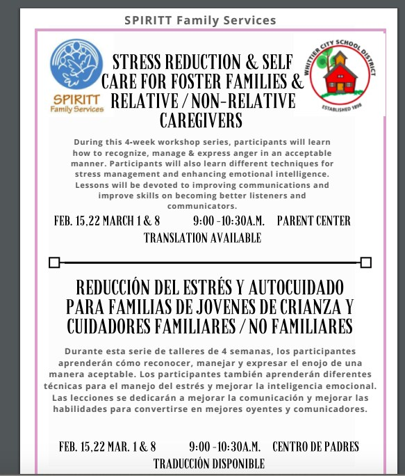 Stress Reduction & Self Care For Foster Families & Relative / Non-Relative Caregivers Featured Photo