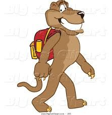 walking cougar with backpack