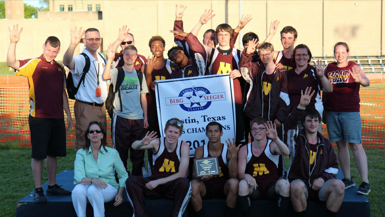 MSAD track team winning Berg Seeger
