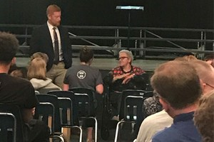 A Holocaust survivor shares her story with students from OLSH