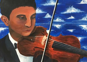 Painting of a boy playing the violiln
