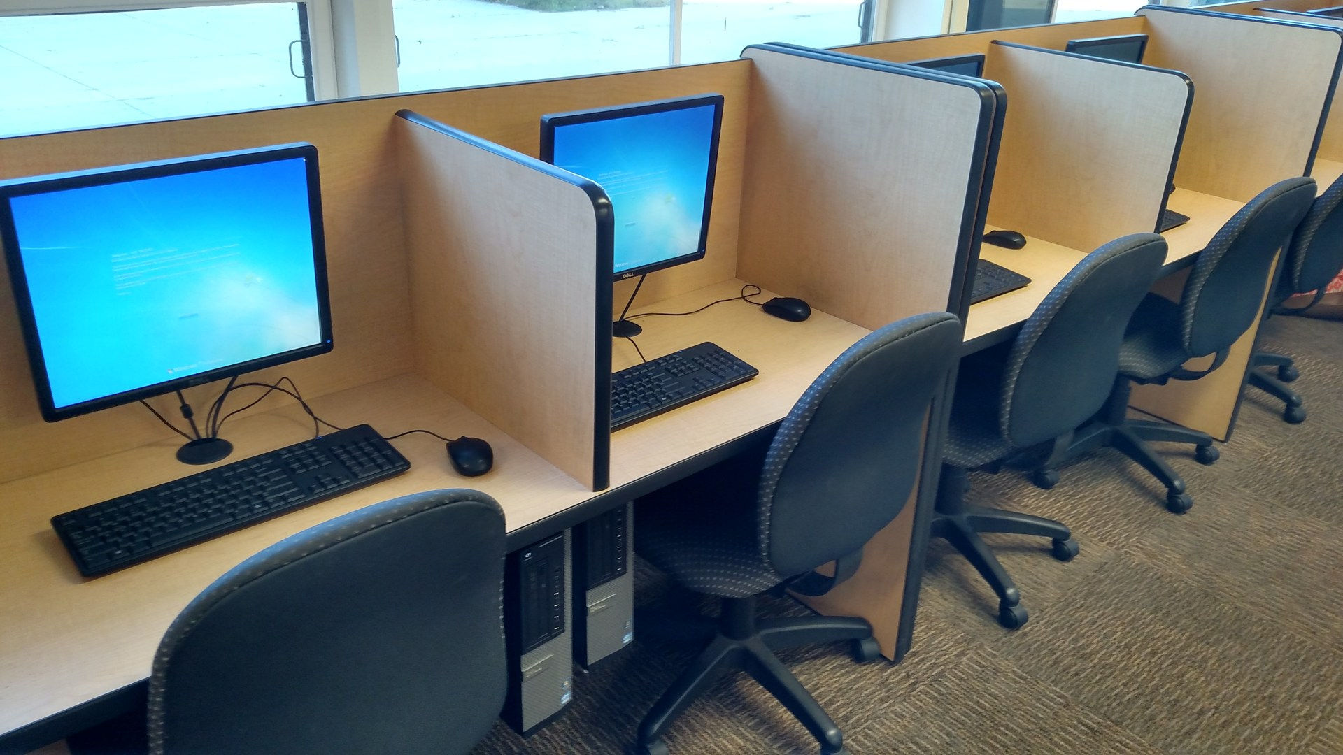 Image of school computers and desks