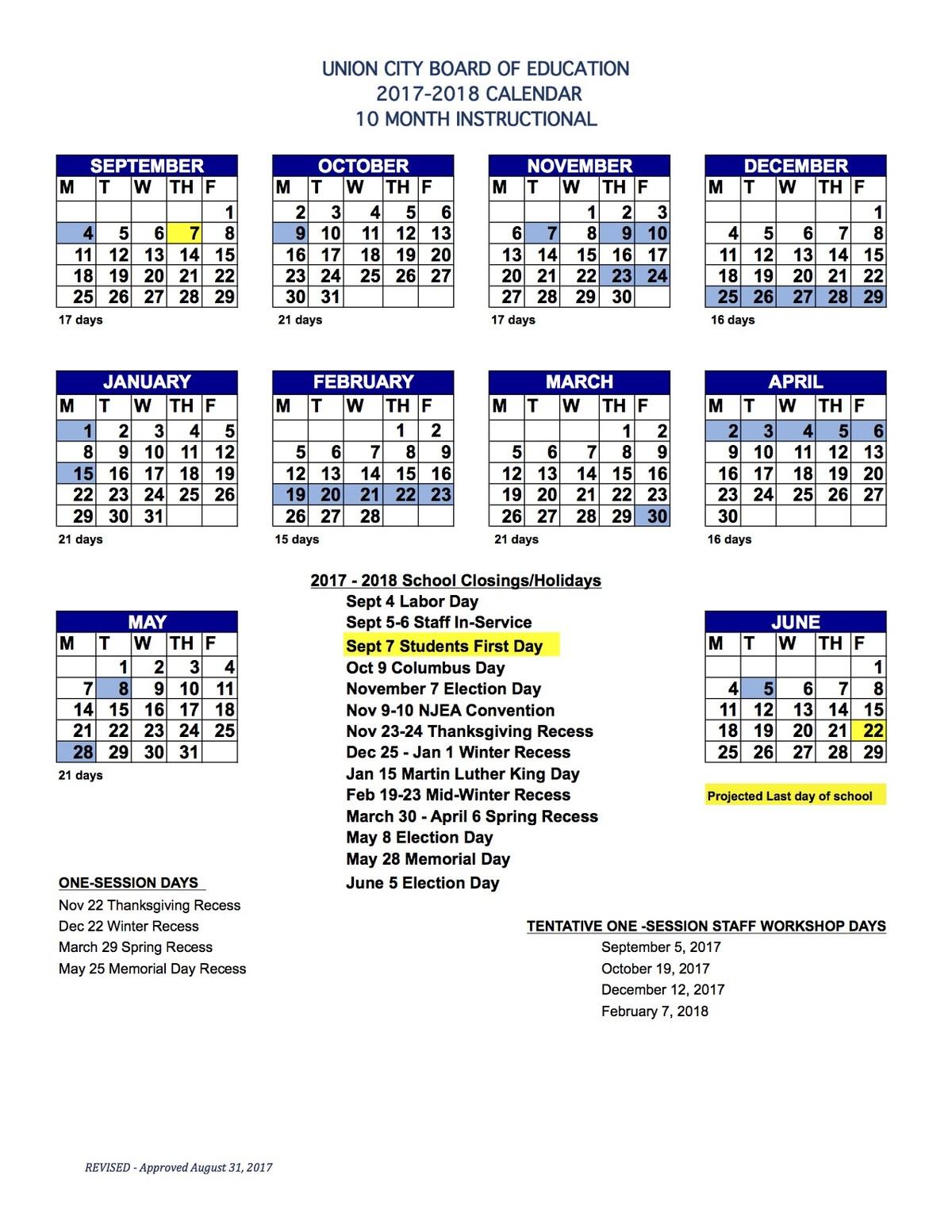 2017-2018 10 Month Calendar