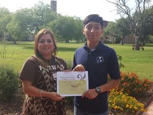 Ismael Bartolome and Mrs. Perez - Schreiner Scholarship 4.15.16.jpg