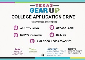 Gear-UP College Application Drive will be August 14.=