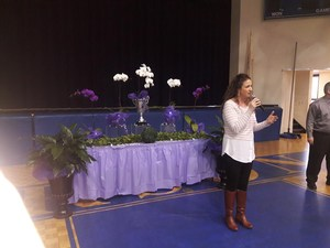 Mrs. Santianello addressing the parents at the assembly