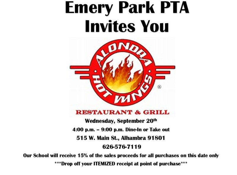 Come eat at Alondra's Wed. the 20th to raise money for Emery Park! Thumbnail Image