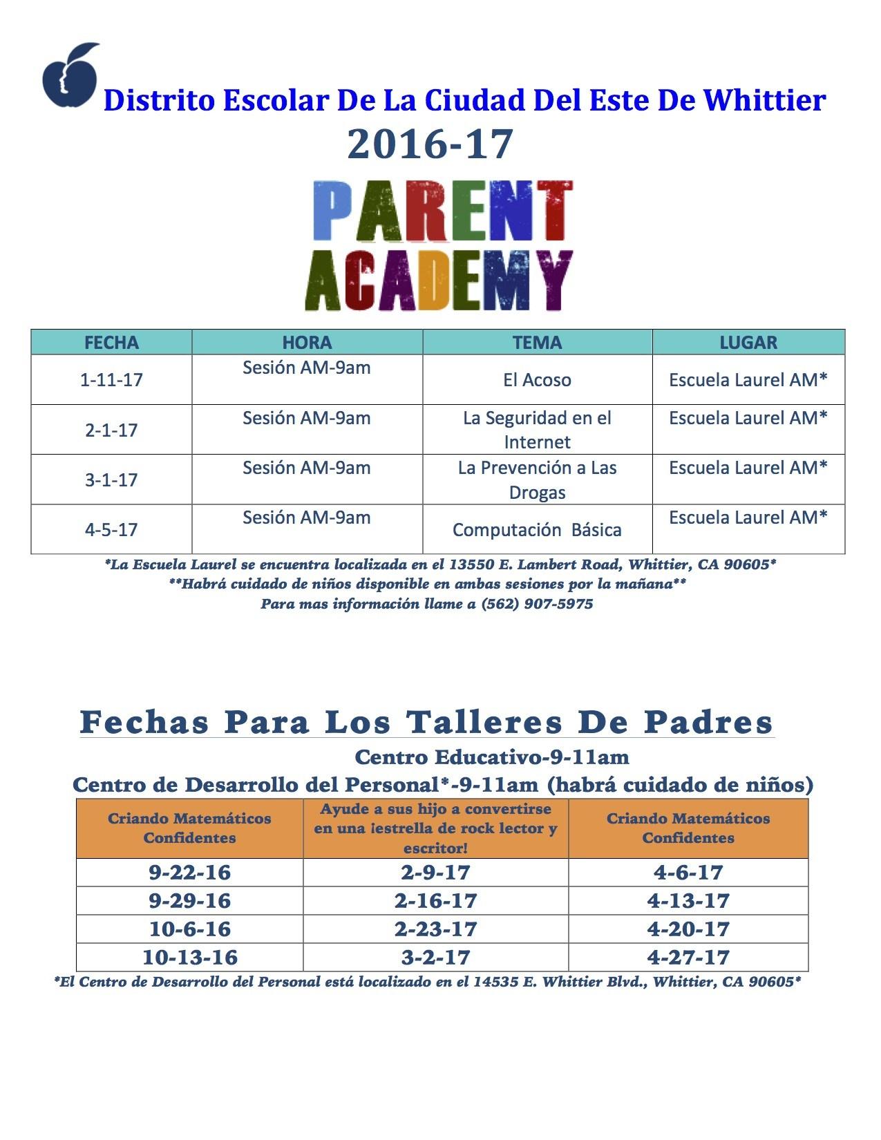 Parent Academy schedule in Spanish