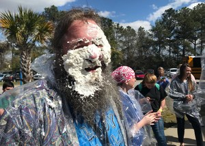 A pie in the face at Airport High's fundraiser