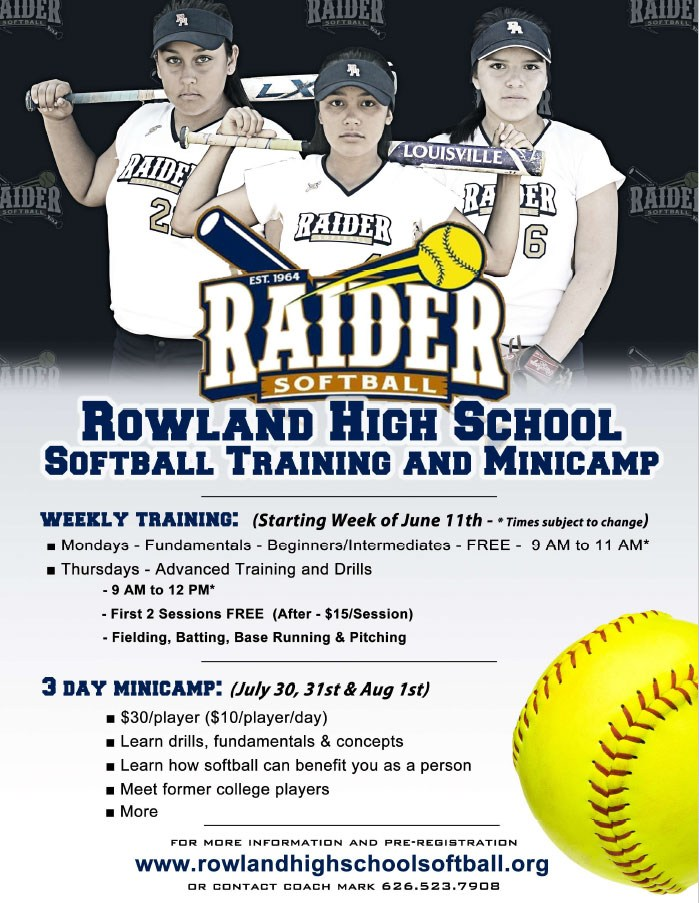Rowland High School Softball Training and MiniCamp - Summer 2018
