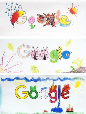 Three student drawings designed around the word