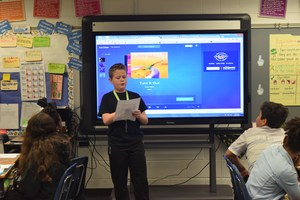 Matthew Misegades, a fifth grade student at Patrick Copeland Elementary, reads his winning essay to his class on April 18.