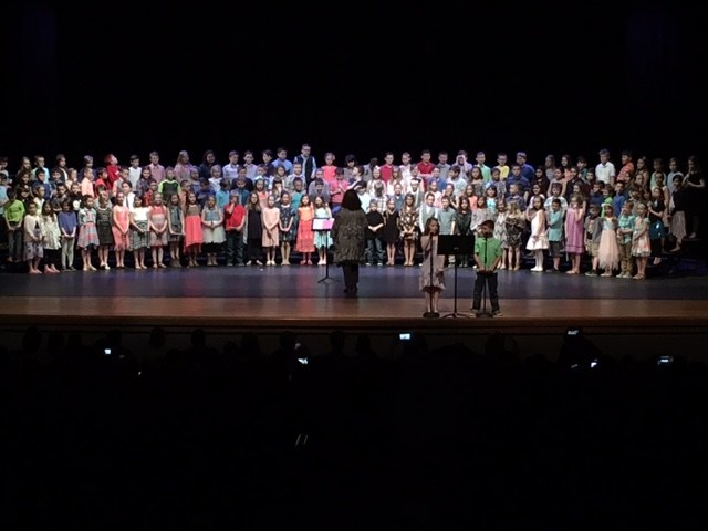 Students singing at the 2018 3rd grade concert.