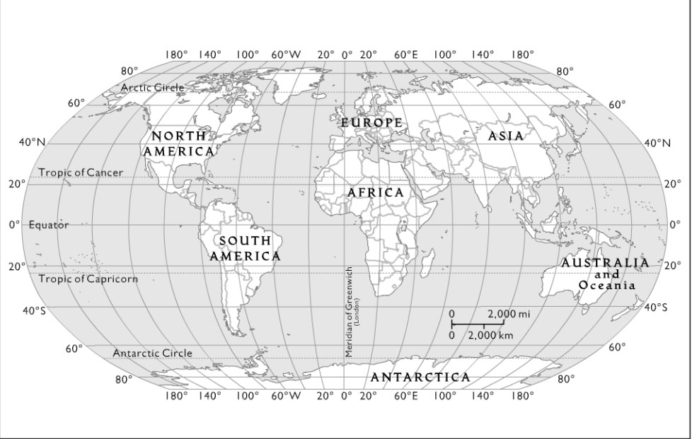 Labled world map