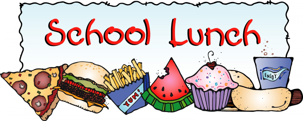 School lunch logo with hamburger, fries, watermelon and cupcake.