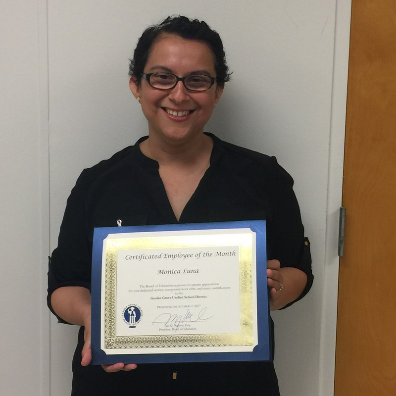 Ms. Luna - October 2017 GGUSD Employee of the Month Thumbnail Image