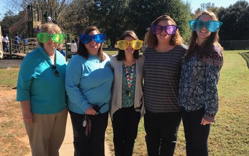 Teachers wearing sunglasses