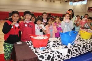Students sampling milk