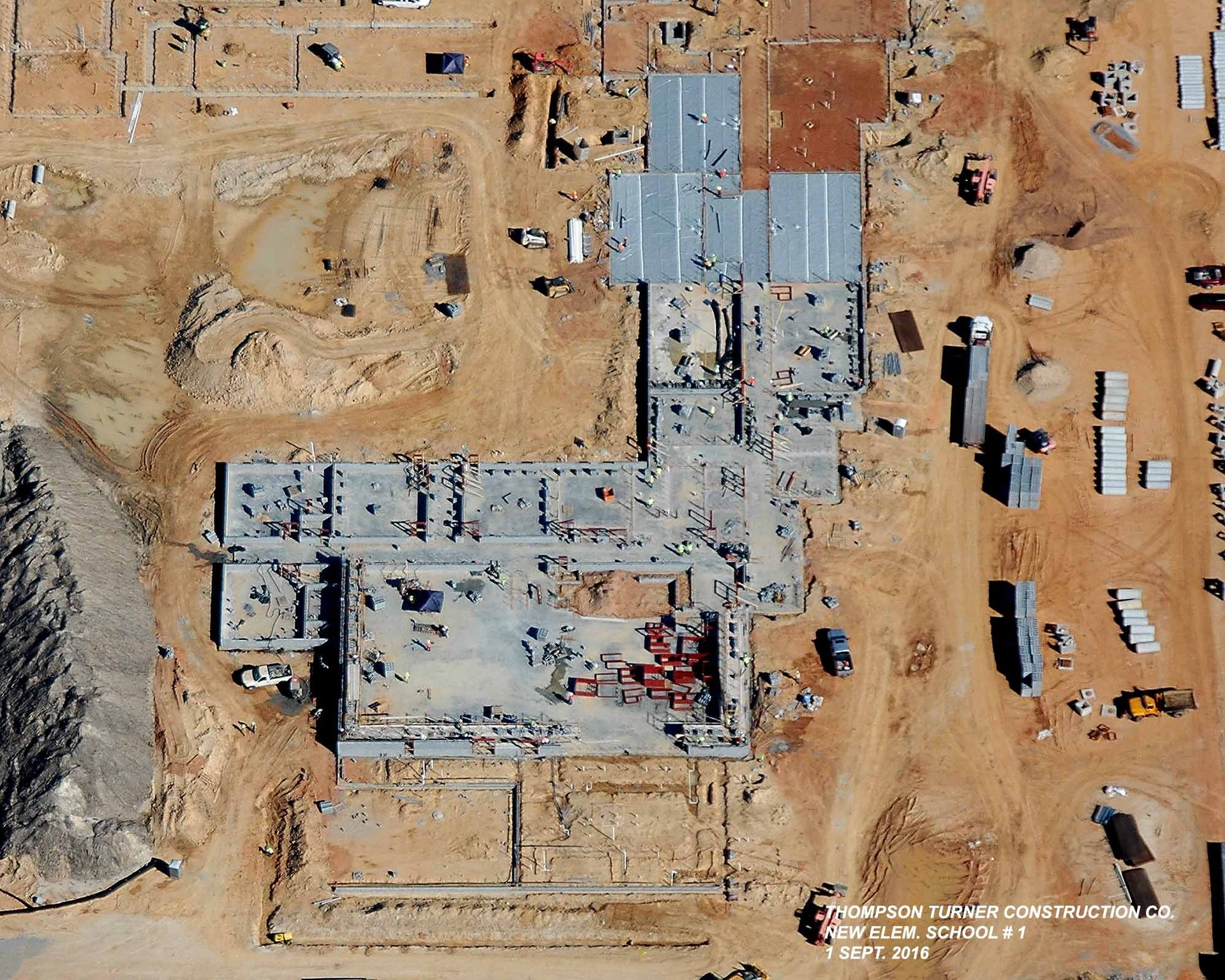 Overhead View of New Elementary School Construction