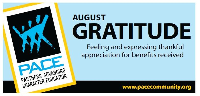 PACE Character Trait for August - Gratitude Thumbnail Image
