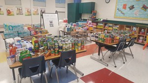 Donated Items gathered by Landrum Elementary for the victims of Hurricane Harvey