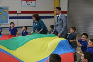 Juan Arevalo participates in a P.E. activity at Mims Elementary