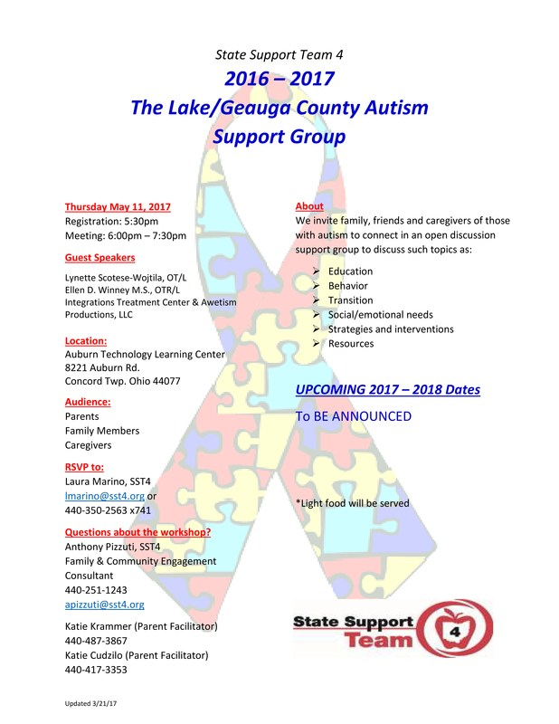 State Support Team 4 Hosts Lake/Geauga County Autism Support Group Meetings Thumbnail Image