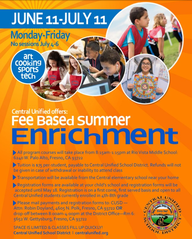 Fee Based Summer Enrichment Flyer