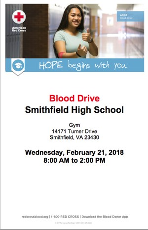 SHS Blood Drive Poster 2/21/18