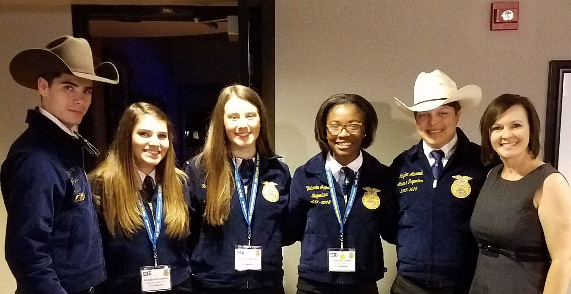FFA officers congratulating Victoria on an excellent performance in the FFA talent show.