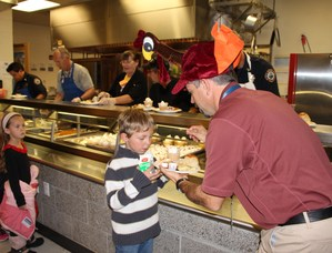 cafeteria line for Thanksgiving
