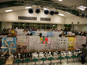 science fair projects displayed in cafeteria