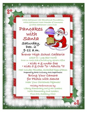 Pancakes with Santa Saturday, Dec. 2