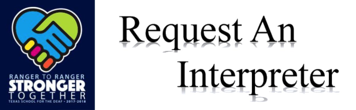 Request An Interpreter with the TSD Stronger Together logo