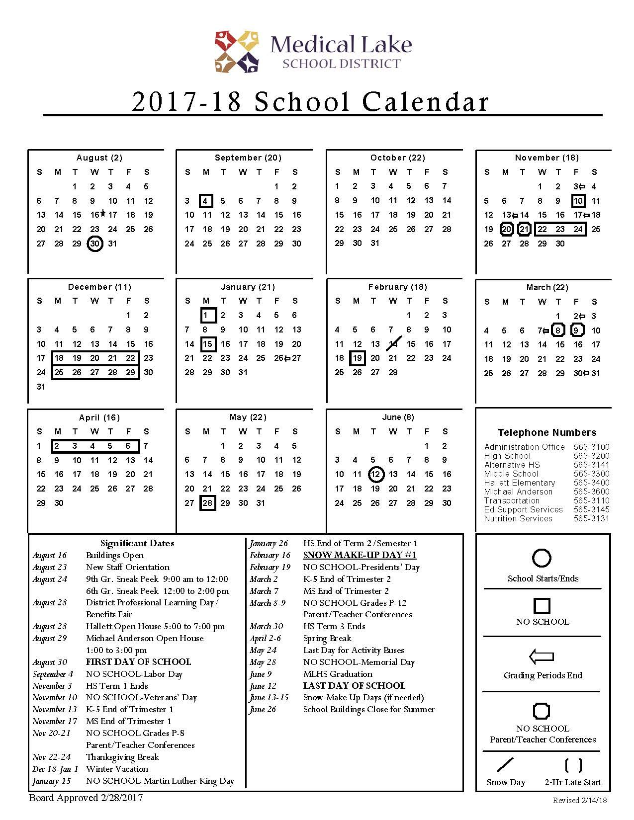 Revised 2017-18 School Year Calendar Reflecting Snow Make-Up Day
