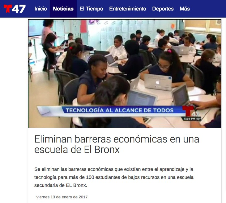 Screenshot from Telemundo.com of the news report. Image shows Students working on computers.